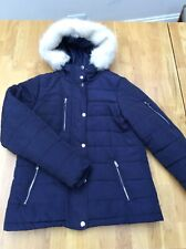 Navy Quilted Jacket With Fur Hood, Size 8 Golddigga