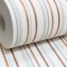 Grandeco Stripe Metallic Copper Gold Grey White Lines Textured Vinyl Wallpaper