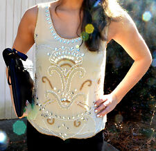 NWT Beaded Embellished Tank Top, Size S, New Years & Holiday, Sequin, Sparkle
