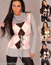 Miniabito Donna Long Pullover Vestitino Maglia ISF F60071 A758 Tg Unica  **