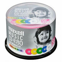 50 Maxell JAPAN Blank CD-R for Audio Music 80min CDR 24x color mix CDRA80MIX50SP