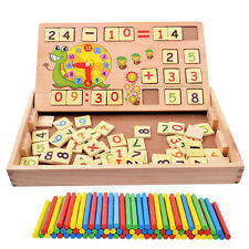 Wooden Math Counting Number Stick Clock Building Blocks  Kids teaching Toy Gifts