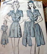Lovely Vtg 1940s Playsuit & Skirt Advance Sewing Pattern 16/34 Ff