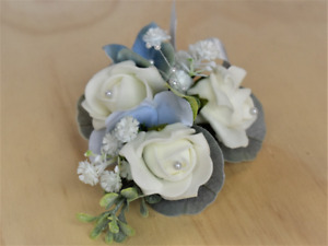 Pale Blue Corsage ~ Sparkling Wedding Corsage ~ Mother of  bride ~ Prom ~ Wrist