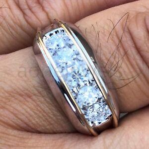 Mens 1.40Ct Round Diamond Wedding Band Engagement Ring 14K White Gold Finish