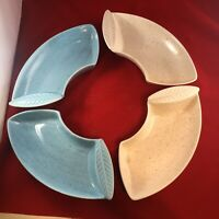 Vintage California USA Pottery Lazy Susan Dish Inserts Pink Blue 4 Piece Set