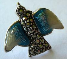 "STERLING SILVER BLUE ENAMEL MARCASITE BIRD PIN BROOCH 3.2 GR HAND MADE 3/4"""