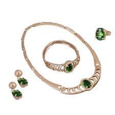 Gold Plated Rhinestone Crystal Pendant Choker Necklace Earrings Bracelet Ring 0Q