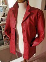 Ladies NAF NAF red real leather JACKET BLAZER  long line boyfriend med UK 10 8