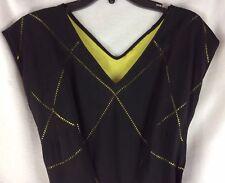 Vintage Dress Sz S Black Eyelet Taffeta Under Slip Double Vee Neck Crepe Taffeta