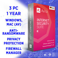 Avira Internet Security Suite 3 devices 1 year 2020 full edition