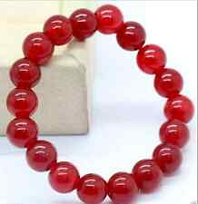 Charming!10mm Natural Red Ruby Round Beads Bracelet Bangle 7.5'' AAA