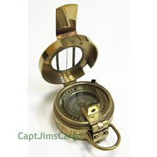 "Brass British Prismatic Pocket Compass 3.75"" w/ Leather Case Nautical Decor New"
