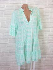 Hippie Blogger Hängerchen Kleid Tunika Volant Print 36 38 40 42 Weiß Mint K174