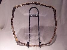 """IVV Crystal """"Glacier"""" 10k Gold Square Glass Platter Hand Made In Italy 13 1/2"""""""