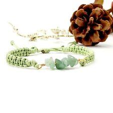 Green Aventurine Gemstone Delicate Women Macrame Adjustable Bracelet Boho