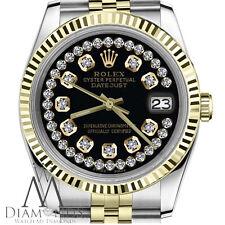 Glossy Black Men's Rolex 36mm Datejust 2 Tone String Diamond Dial Jubilee Watch
