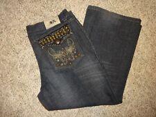 "Men's Riflessi Denim Jeans Studs Embroidered 40"" x 27"" Cotton Flat Embellished"