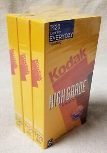 Set 3 NEW Sealed KODAK High Grade Blank 6 Hour T-120 VHS Video Cassette Tapes