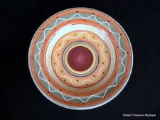 Pier 1 Etrusco Rim Soup/Pasta Bowl Red Orange Green Swirls Dots Beautiful