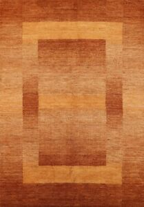 Contemporary Orange/ Rust Gabbeh Oriental Area Rug Wool Hand-knotted Carpet 4x6