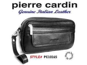 PIERRE CARDIN - Men's Organiser Bag -Genuine Soft Italian Black Leather PC10165