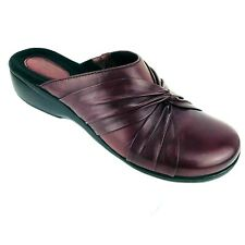 Women Clarks Artisan 9.5 M Mules Burgundy Red Leather Slides Comfort Clog Shoes