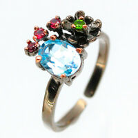 Handmade Silver plated Natural Blue Topaz 925 Sterling Silver Ring / RVS106