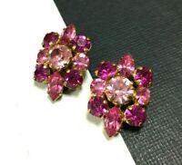 Vintage AUSTRIA Clip Earrings Gold Fuchsia & Rose Pink Navette Rhinestone PP2F