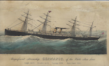 Currier & Ives Ship - STEAMSHIP GERMANIC, WHITE STAR -  Antique Litho - c1885