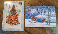21 VTG Christmas Holiday Postcard Card Lot Animals Deer Gibson Hallmark UNUSED