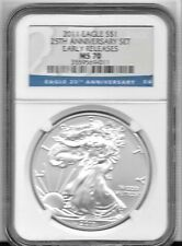 2011 $1 1 Ounce 25th Anniversary Set Label Silver Eagle NGC MS 70 Early Releases