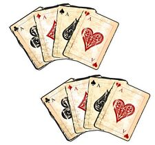 Pair of Distressed Aged Grunge 4 Aces Playing Cards vinyl car sticker Sml 90mm