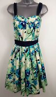 BNWT WOMENS BELLE BY OASIS BLUE GREEN FLORAL BELTED OCCASION FLARE DRESS UK 10