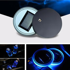 Auto Car Solar Energy Cup Bottle Holder Bottom Pad Blue LED Light with Switch 2x