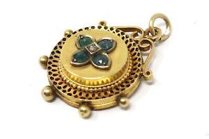 Heavy Antique Victorian 15ct Yellow Gold 625 Emerald & Diamond Pendant Not 9ct