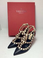 CHRISTMAS PARTY VALENTINO Rockstud Black Ivory Cage Red Studs Leather Heels US5