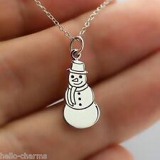 SNOWMAN NECKLACE - 925 Sterling Silver - Christmas Jewelry Snowman Charm *NEW*