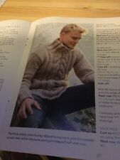 Men's Cabled Sweater In Dk Knitting Pattern, Ribbed Funnel Neck, S - Xxxl
