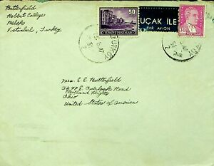 TURKEY 1947 POST WWII 3v ON COVER FROM ISTANBUL TO CLEVELAND OHIO USA