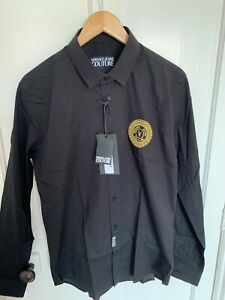 Versace BRAND NEW WITH TAGS slim fit men's black shirt, size 46 Medium or Small