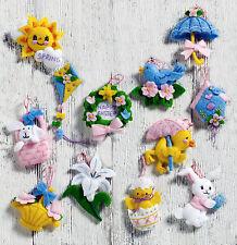 """Bucilla Mini Easter Ornaments 1.75"""" x 2"""" Felt Applique Kit, Set of 12, 86757"""