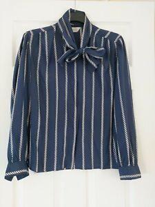 Ladies Long Sleeved Blouse Blue Striped Size 14  Alexon Neckerchief