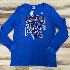 New York NY Giants NFL Blue Waffle Long Sleeve Shirt Size XXL