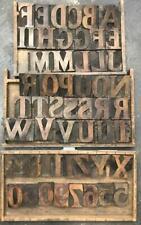 53 pc Old Letterpress Printers Wood Type Large Upper Case Serif Font