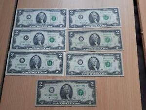 Job lot of 7 American 2 Dollars banknotes.