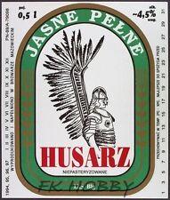 Poland Brewery Okuniew Piwo Husarz Beer Label Bieretikett Cerveza ma17.1