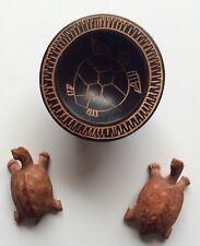 Small Kava Bowl Turtle theme, carved Wood Turtles