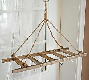 ❀ Küchenkrone Holzhänger Hängedeko 60cm x 25cm Holz Leiter Kordel Natur #110A