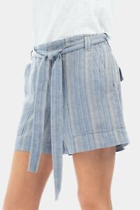 Dylan Linen Size 6 Tie Waist Shorts Blue Striped